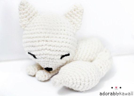 Sleepy Fox Doll, Cute Fox Amigurumi, Crochet Stuffed Animal, Fox Plushie, Nursery Toy, Baby Toy, Sleepy Fox Plush, Kawaii Fox Plush Doll