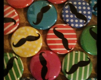 "Mustache Buttons - Set of 20 - Pin Back, Flat Back, or Hollow Back Buttons 1"" Buttons - Party Favors - Moustache - Birthday Bash Favors"