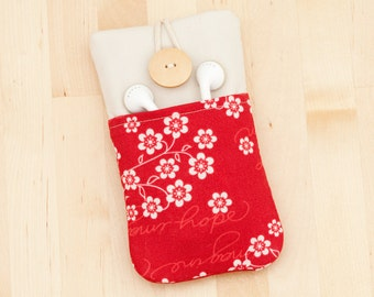 iPhone 6 cover / iphone 5 case / Nexus 5 case / Nokia lumia case - flowers in red with  pockets -