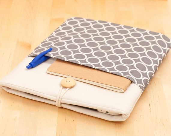 iPad Air case, iPad cover, iPad sleeve, iPad pro sleeve, padded  - circles with pockets -
