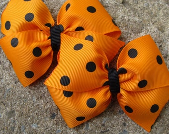 Halloween hair bow Pigtail Hair Bow Pink and Green Hair Bow Set 3 inch Small Princess Hair Bow Collection