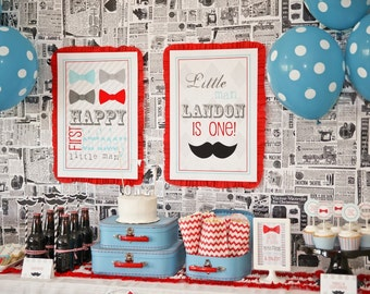 Little Man Bow Tie Mustache Bash Printable Party Signs - Birthday Party or Baby Shower - Petite Party Studio
