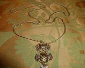 The Golden Dangling Owl vintage Wiggle Necklace Vintage Owl Necklace Moving Owl Necklace