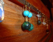 FREE HOLIDAY SHIPPING 70's Vintage Gaya Mother Earth Earrings earth and Sky Dangle Earrings green and blue globe earrings planet