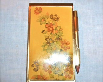 1920's Antique Gold Plated Metal Pocketbook set Amber Flowers Notebook floral Metal Wallet case Gold wallet compact purse Flapper accessory