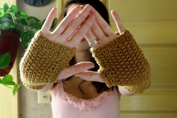 Ochre Wool Fingerless Gloves