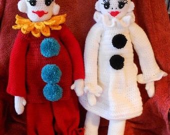 Crochet pattern pierrot lady or gentleman, haakpatroon pierrot dametje of heertje