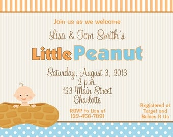 Little Peanut Baby shower invitation - little peanut --  you print or I print