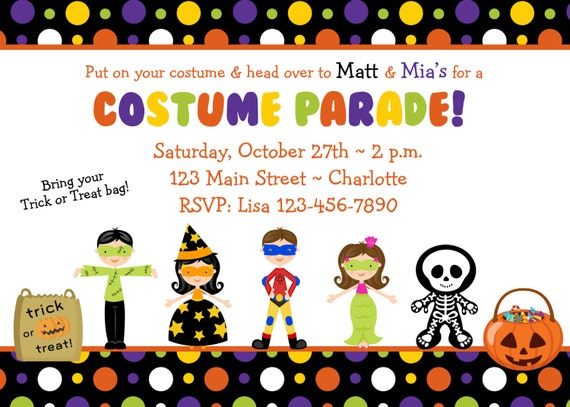 Halloween costume party invitation Costume Parade Party – Halloween Costume Party Invite