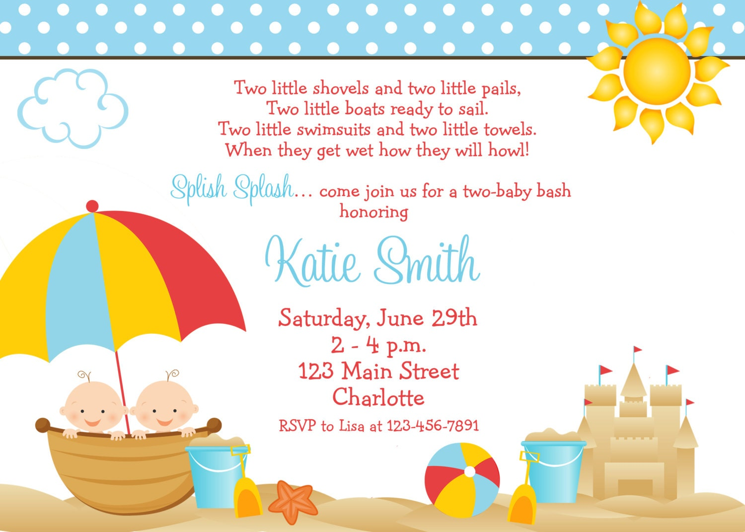 beach baby shower invitation twins baby by thebutterflypress