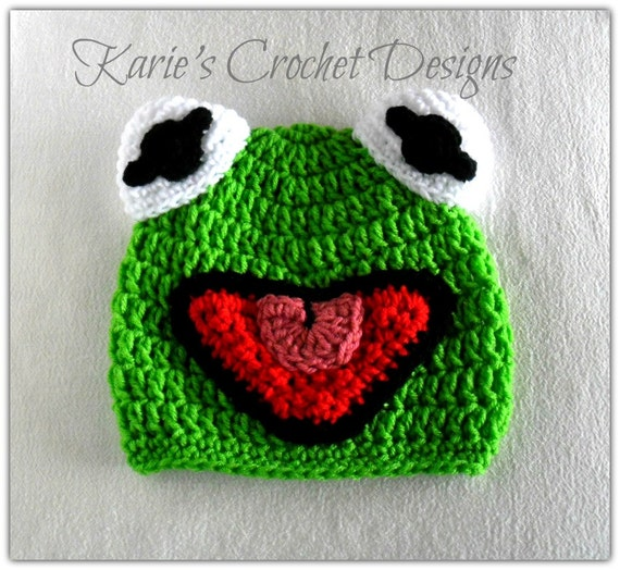 Kermit the Frog , Muppet , Handmade , Phot Prop , Crochet Hat Beanie