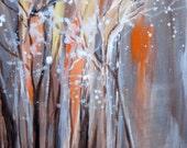 "ORIGINAL painting abstract winter scene 10""x10"" gray brown white orange  by devikasart on Etsy"