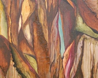 """ORIGINAL ABSTRACT landscape painting 18""""x36"""" brown purple green ravines painting devikasart on Etsy"""