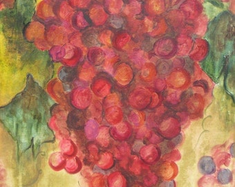 "WINE GRAPES Painting 25% OFF Abstract Original-crimson green ochre acrylic painting 19.5""x36"""
