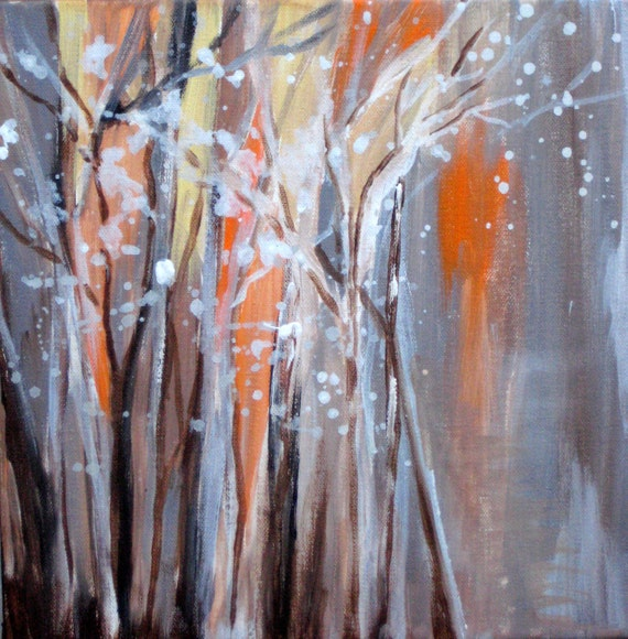 "ORIGINAL painting abstract winter scene 10""x10"" gray brown white orange  by devikasart on Etsy"