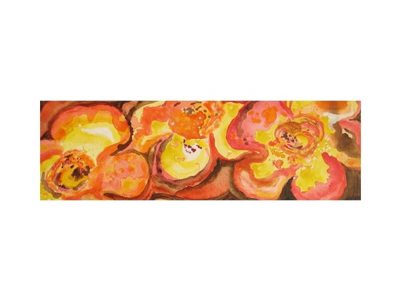"FLOWER painting ORIGINAl abstract fall colors -8""x24"" orange yellow brown organic flowers  by devikasart on Etsy"
