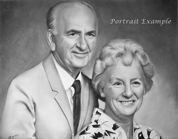 CUSTOM Portrait - Couple - Charcoal Drawing - Pet Portrait - Realistic hand drawn art - From your Photo - 11x14 - Lainy's Charcoal