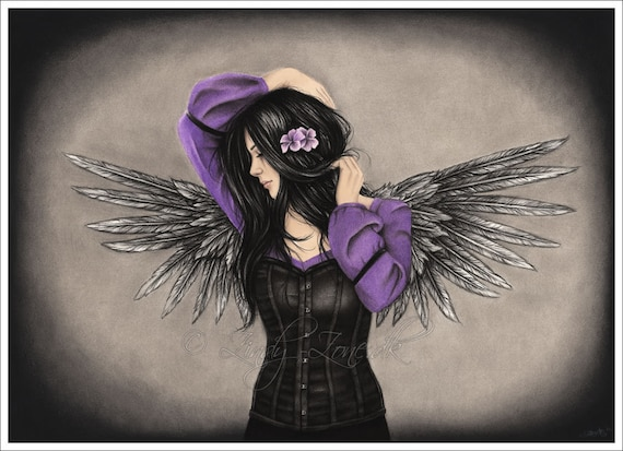 Drawings Sadness And Dark: The Sad Heart Dark Angel Beauty Gothic Emo Girl Art Print