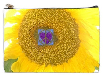 Sunflower Cosmetic Bag, yellow sunflower, peace sign, purple heart, cosmetic makeup bag, zipper pouch,  makeup cosmetic bag, NirvanaRoad