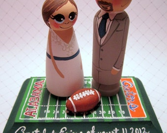 Wedding Cake Topper / Custom Painted Wood Peg Dolls/ Couple with Fully Custom Plaque and 1 small clay item/ Sports fan/Football/Soccer
