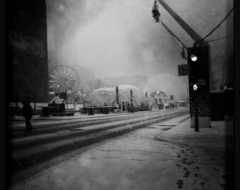 Photography - Winter in Montreal - Black and white - Place des festival - 12in x 12in