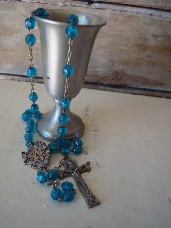 Vintage Antique Catholic Faceted Turquoise  Beads Rosary Silver toned Prayer Beads