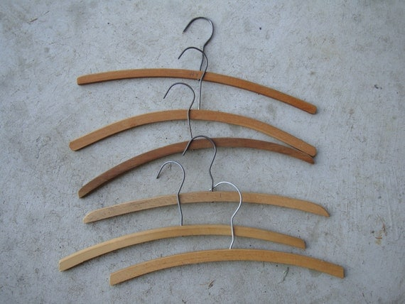 Vintage Wooden Clothes Hangers Set of 6