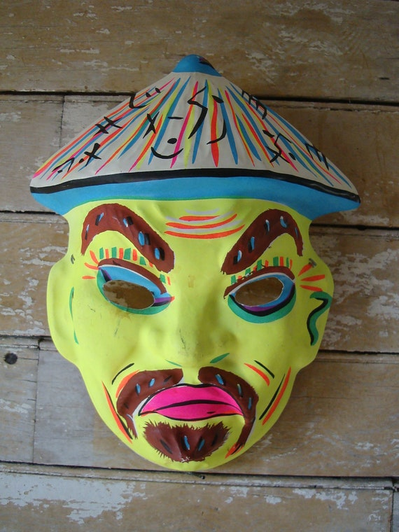Vintage Chinese Fellow Mask Halloween Rare Find 1950s or 60s