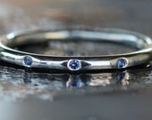 Three Sapphires and Sterling Silver Stacking Round Shank Ring 925 Handmade Size: 8
