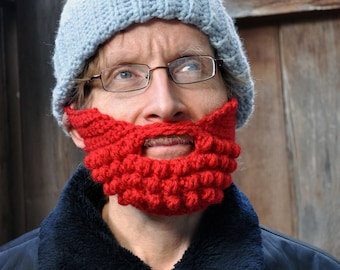 Beard for a Beanie Hat, Adult Medium, Red