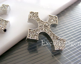 5pcs High quality Metal with Cyrstal Cross Bracelet Connector in silver color--25mm x 30mm