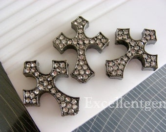 Clearance 5pcs High quality Metal with Cyrstal Cross Bracelet Connector in jet color--25mm x 30mm