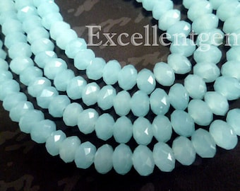 72pcs and up, Faceted crystal roundel beads in Milky baby blue color - 8x6mm
