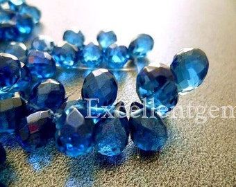 23p Briolette, Faceted teardrops, Sapphire glass Quartz Faceted Teardrop 12x9mm