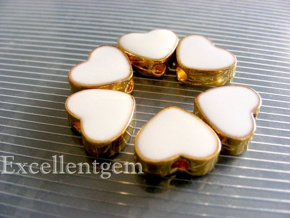 5pcs gold plated Double-sided Metal heart shape Connector in white color-14mmx12mm-