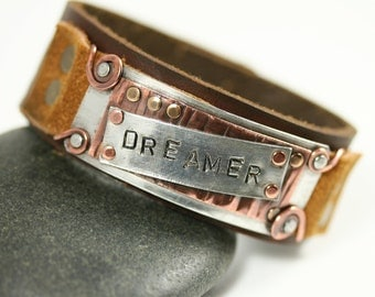 Customizable Leather Cuff  Bracelet Mixed Metal Handcrafted