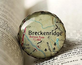 Jewelry, Ring, Adjustable,Breckenridge Colorado Map,Vintage Like Bronze Finish Setting,Wearable Art