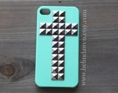 iPhone 4 Case, Studded iPhone 4 Case, cross silver pyramid stud mint green iPhone 4/4S case, Hard iphone case, steampunk