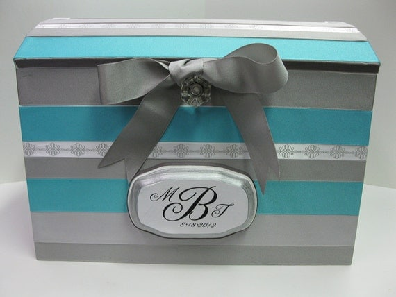 Large  Wedding Card Gift Box with Plaque - Custom Made 2