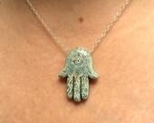 Hamsa necklace Evil eye necklace Hand of Fatima necklace Spiritual Hamsa jewelry Hamsa necklace sterling silver Blue Hamsa necklace Raku