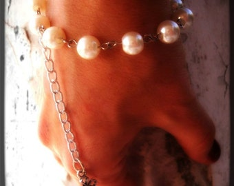Gothic Bracelet With Vintage Style Pearls and Cross Charm