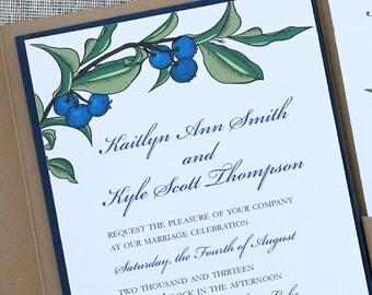 Blueberry Wedding Invitation Suite