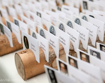 1 Gold Escort Card Holders Made From a Fallen Tree