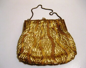 Vintage Mad Men Glam Gold Beaded Purse