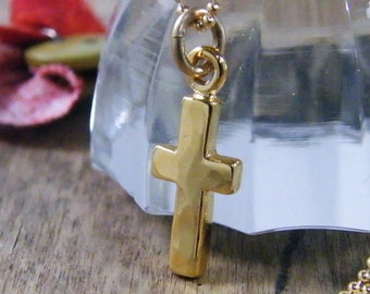 tiny hammered gold vermeil 24 kt cross with 14 kt gold filled chain