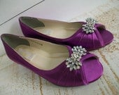 Wedding Shoes - Wedge - Shoe - Crystal - Wide Size Available - Purple - Choose From Over 200 Colors - Barn Wedding - Outdoor Wedding - Wedge