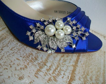 Blue Wedding Shoes - Peep Toe Heels - Pearls And Crystals - Choose From Over 200 Colors - Choose Your Heel Height - Something Blue Shoes