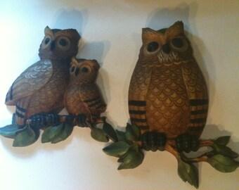 Pair of Vintage Homco Wall Hanging Owls