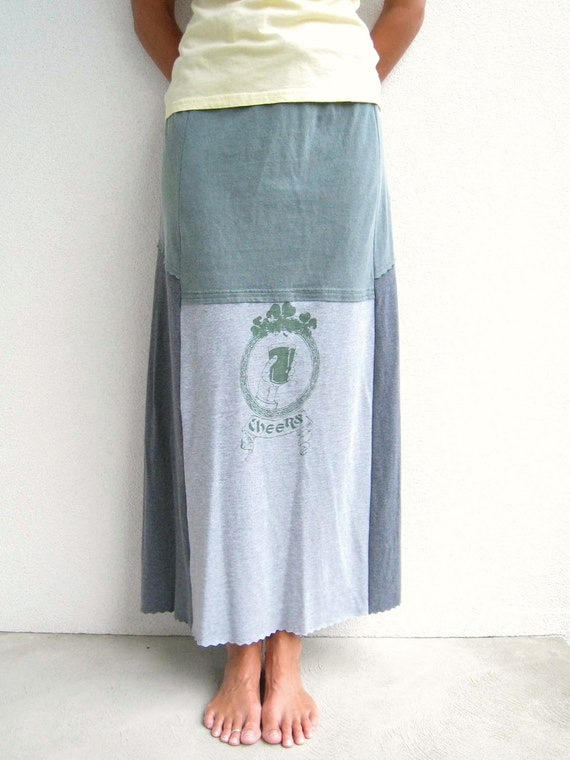 Recycled T Shirt Skirt / Long / Straight / Heather Charcoal Gray Sage Green / Patchwork / Fashion / Fun / Eco Friendly / Soft / by ohzie