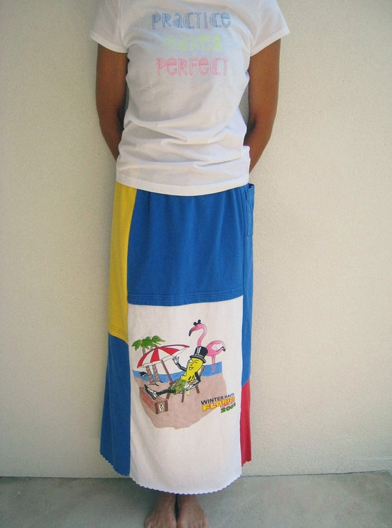Long Straight T Shirt Skirt / Mr. Peanut / Red Royal Blue Yellow / Patchwork / Beach / Vacation / Summer / Cotton / Soft / Fun / by ohzie